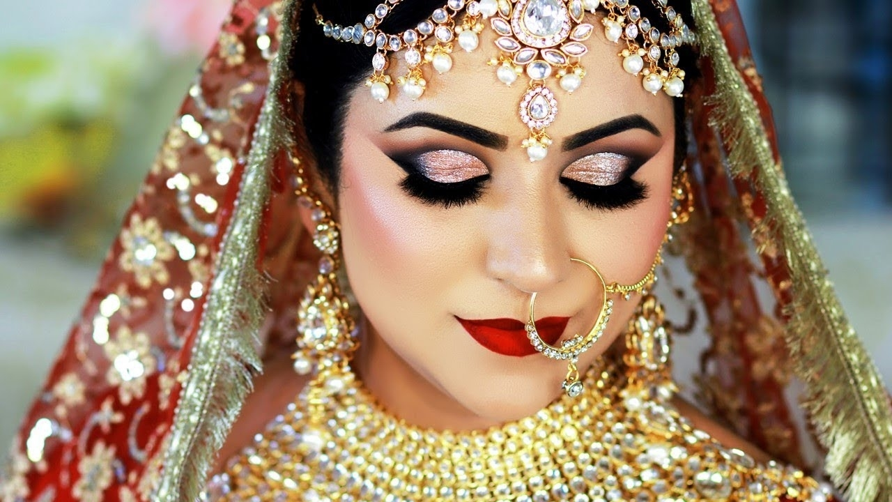 Long Lasting Indian Bridal Makeup Tutorial | Traditional Gold & Red Daytime  Look with Bridal Makeup Pics Indian