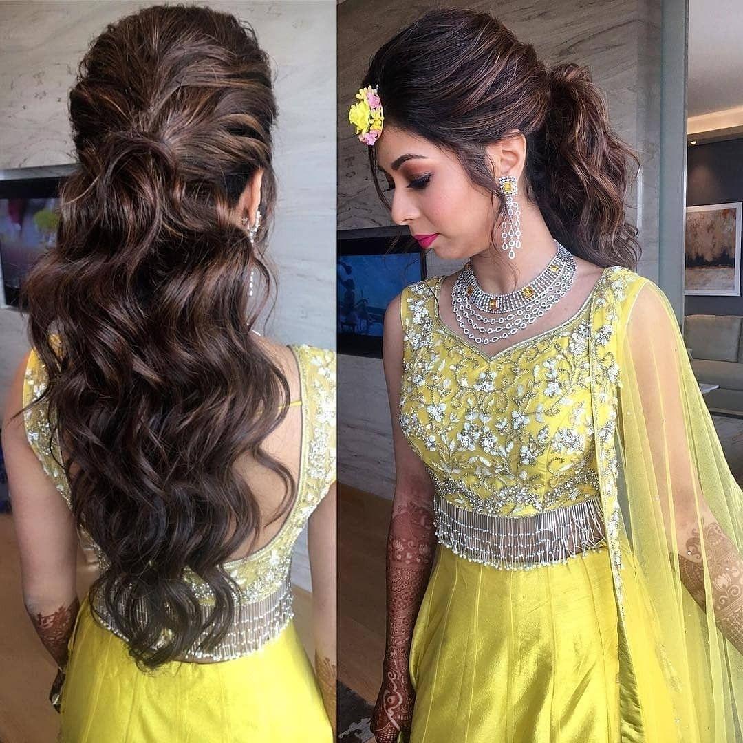 Lehenga In Yellow 💛   Lehenga Hairstyles, Hair Styles, Mom in Indian Hairstyle On Lehenga