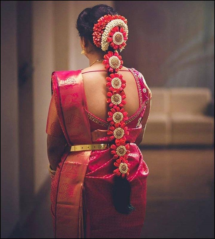 Beautiful South Indian Bridal Hairstyles #Bridalhairstyle pertaining to South Indian Hairstyles For Long Thin Hair