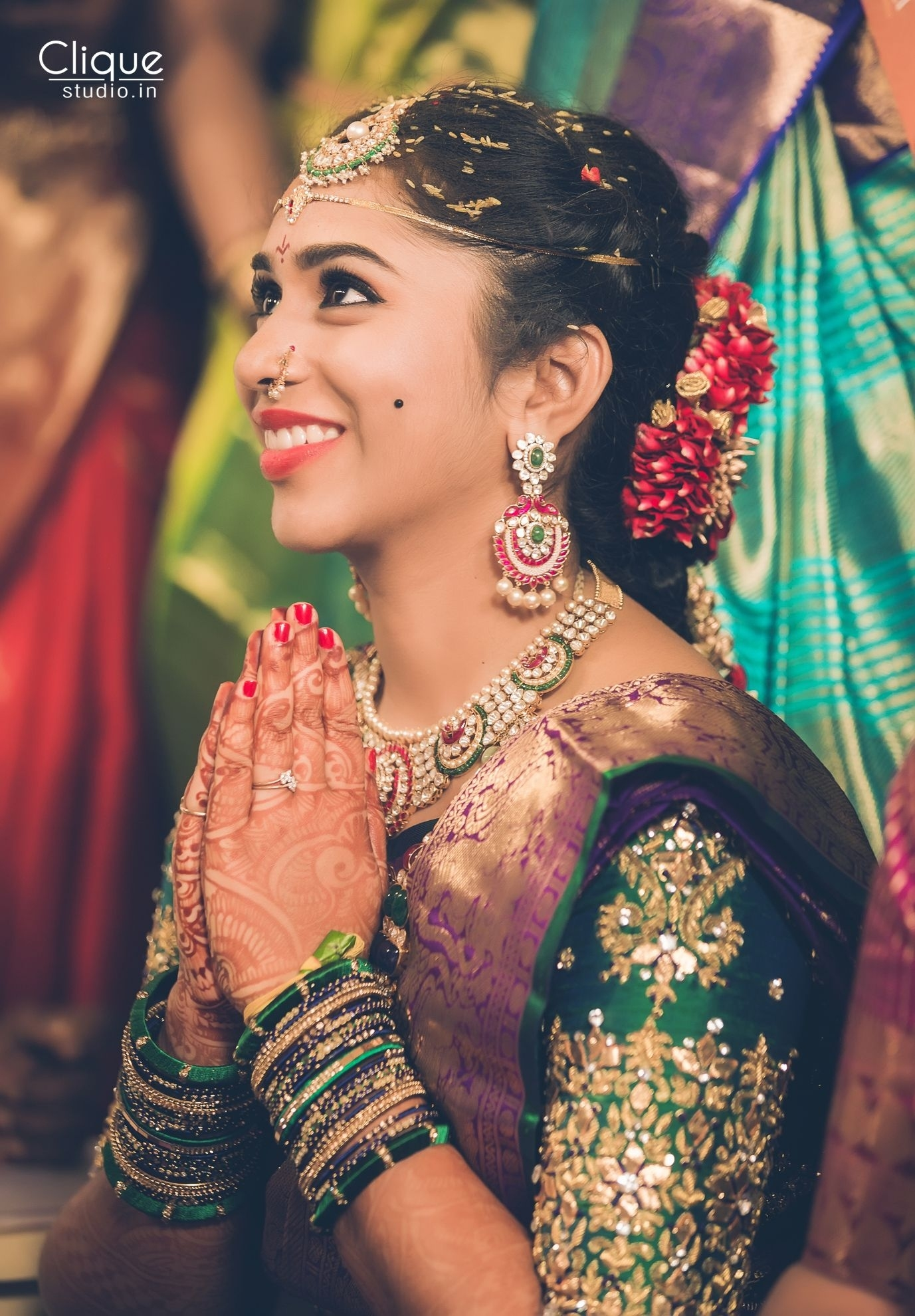 Beautiful South Indian Bride Makeup And Hair @Blush Fine inside South Indian Bridal Hairstyles For Thin Hair