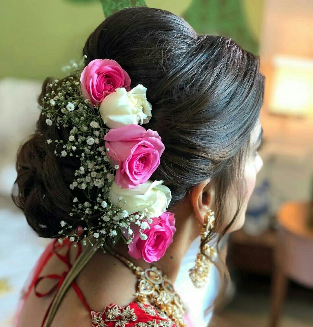 What A Beautiful Large Low Bun With Real Flower Gajra regarding Indian Bridal Hairstyle With Gajra